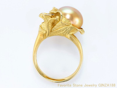 11.5 mm Natural Golden Pearl Ring