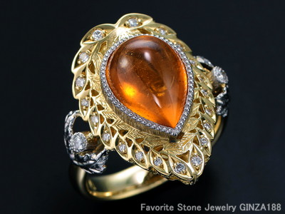 7.41 ct Spessartine garnet ring