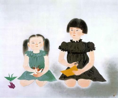 小倉遊亀「姉妹」リトグラフ 45.3×54.0 cm