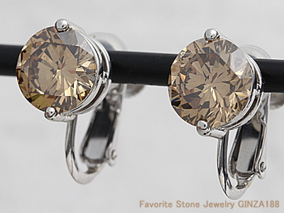 Brown Dimond 3.476ct Earrings