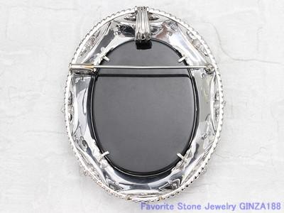 Black Onyx Cameo Pendant Brooch