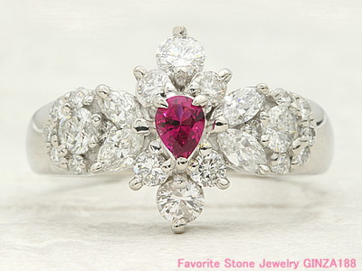 Red beryl 0.132ct ring