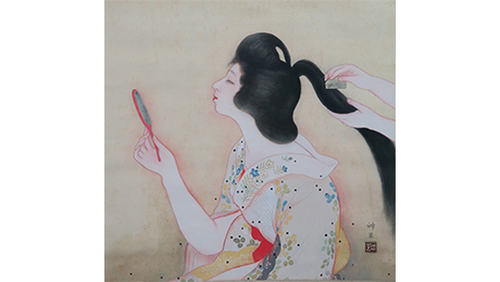 "SHUKADO / Exhibition: The Genealogy of Painting Beauties / Photo: Shinso Okamoto ""Woman Brushing Hair"" (Example of artwork)"